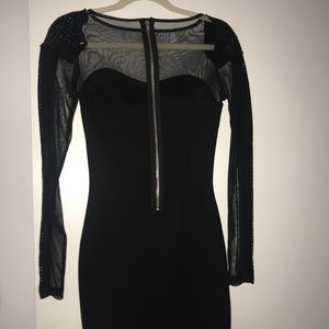Black Party Dress with Sheer & Embellishments